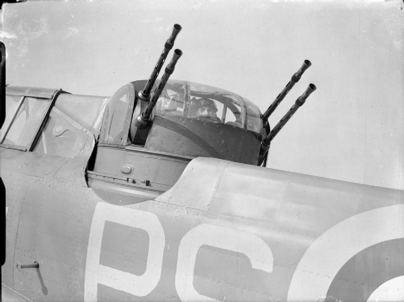 La torreta del Defiant era un diseño bajo licencia de la firma francesa SAMM que podemos observar en detalle. Cada una de las cuatro piezas disponía de 600 cartuchos (Fuente: Imperial War Museum)