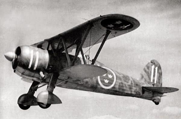 Fiat C.R.42 de las Fuerzas Aéreas Suecas, allí renombrado como J11 (Fuente: www.ipmsstockholm.org )