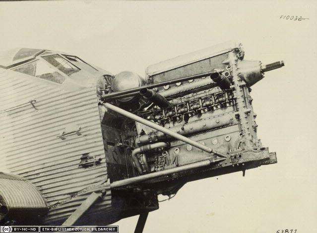Motor Jumo 204 instalado en Junkers F24 (Fuente: ETH-Bibliothek Zürich, Bildarchiv)