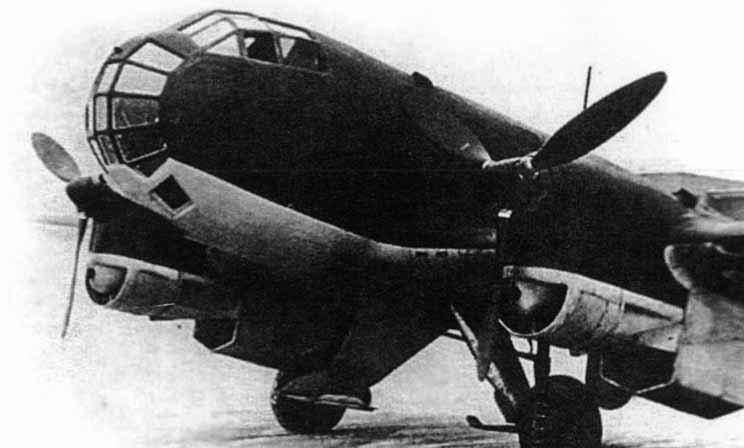 Ju 86P-1 en tierra. Son evidentes las modificaciones en el morro del avión. Los motores instalados son los Jumo 207A-1 con sobrealimentados
