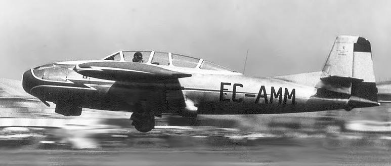 El prototipo 20/1 despega en 1957 en Le Bourget, ya con su matrícula civil. (Fuente: colección Juan Arráez)