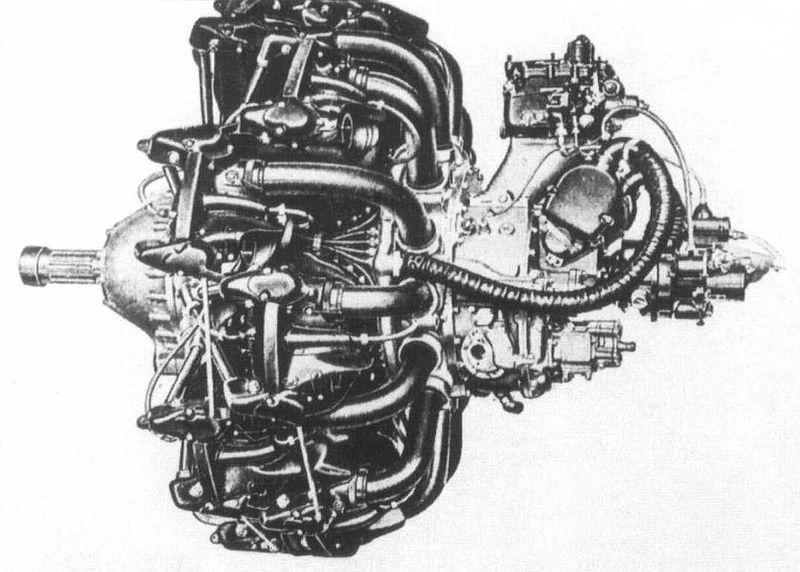 Uno de los propulsores del G4M. El pesado radial Mitsubishi Kasei era capaz de desarrollar en las últimas versiones, y gracias al uso de turbocompresor, la nada despreciable cifra de 1.825 Hp