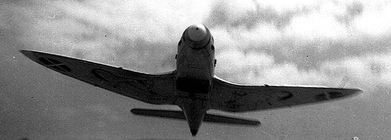 Preciosa imagen de un He112B español en vuelo. Podemos observar la configuración elipsoidal de gaviota invertida de las alas (Fuente: Archivo Gonzalo Ávila)