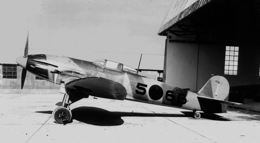 Heinkel He112B con matrícula 5-66 en la maestranza aérea de Tetuán (Fuente: Servicio Cartográfico del Ejército del Aire)