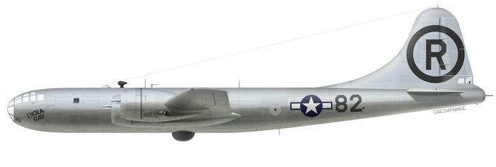 """El Boeing B-29A """"Enola Gay"""" Modelo B-29-45-MO y número de serie 44-86292. Perteneciente al 393º Escuadrón de Bombardeo (509th Bomb Wing) estaba estacionado en Tinian (Islas Marianas)"""