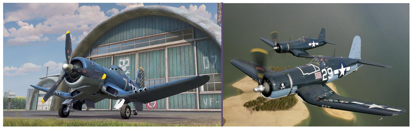 Skipper y una pareja de F4U Corsair restaurados en vuelo. Rápidos, robustos y potentemente armados, los Corsairs sembraron el pánico entre los cazas japoneses (fuente: Disney)