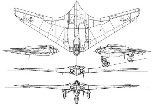 Cuesta trabajo asumir que un avión de estas características y con el perfil que aquí mostramos fuera diseñado y probado satisfactoriamente en 1945 (Fuente: warbirdsresourcegroup.org)