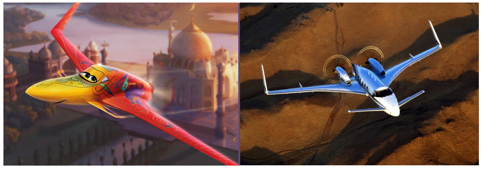 la aerodinámica Ishani y su fuente de inspiración, el Beechcraft Starship (Fuente: Disney)