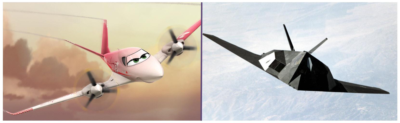 La foto del furtivo F-117 permite observar la similitud de su cola en V con respecto a la simpática Rochelle (Fuente: Disney)