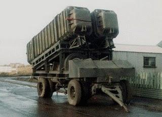 Montaje ITB para el lanzamiento de los MM.38 Exocet desde bases terrestres y que logró hacer blanco en la fragata HMS Glamorgan