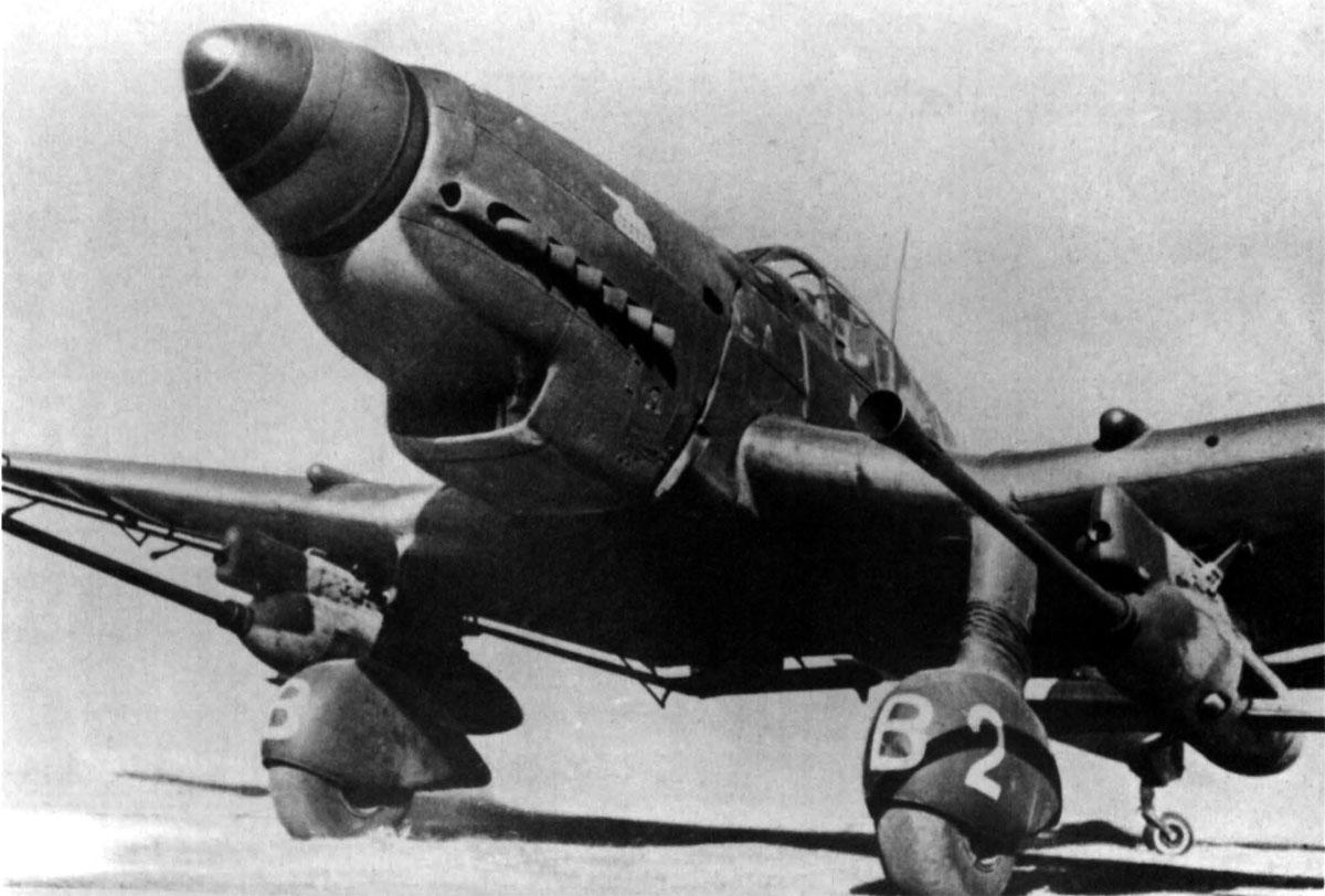Impresionante primer plano de un Ju 87G-1, con sus dos mortíferos cañones bajo las alas