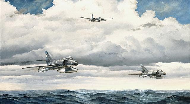 """Recreación pictórica de los protagonistas del ataque al HMS Sheffield: Neptune y Super Étendard protagonizaron una misión de auténtico """"manual"""" y dejaron boquiabiertos a medio mundo"""