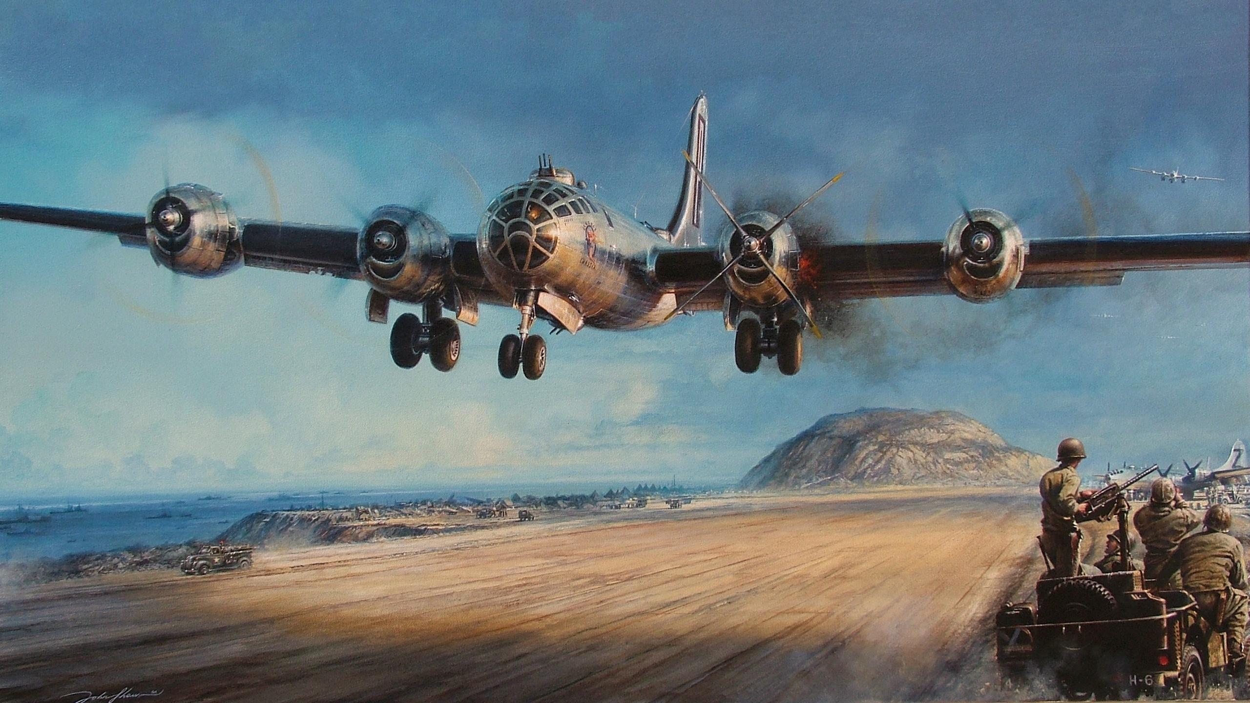 Recreación pictórica de las Superfortalezas regresando a Iwo Jima, averiadas y con heridos a bordo en muchas ocasiones...