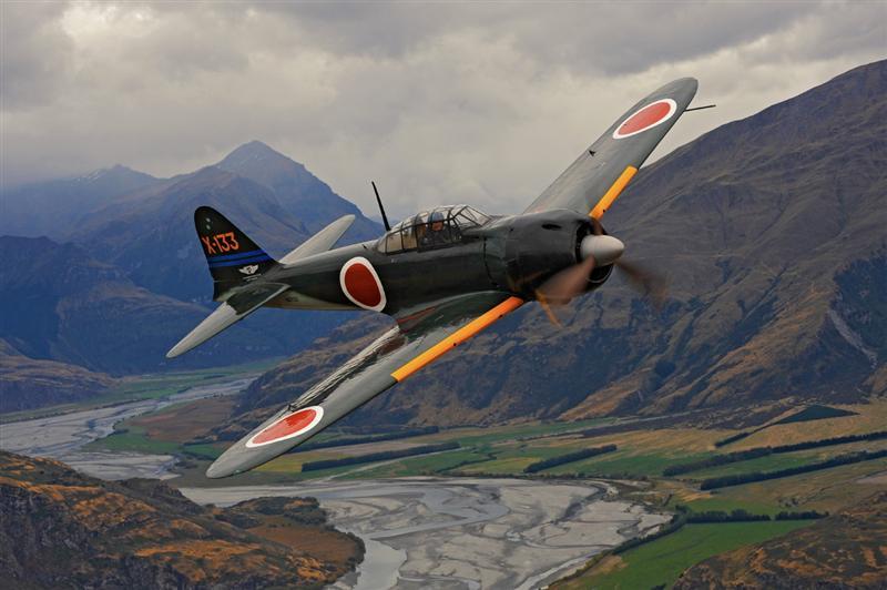 Un superviviente de la Segunda Guerra Mundial: Este Zero A6M3 de alas recortadas y propiedad de la Conmemorative Air Force es uno de los escasos ejemplares supervivientes (Fuente: www.odt.co.nz)