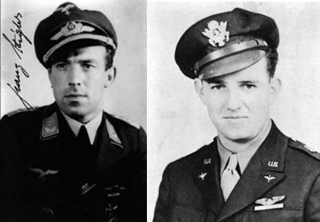 Ambos protagonistas en fotos de aquella época: Franz Stigler y Charles Brown