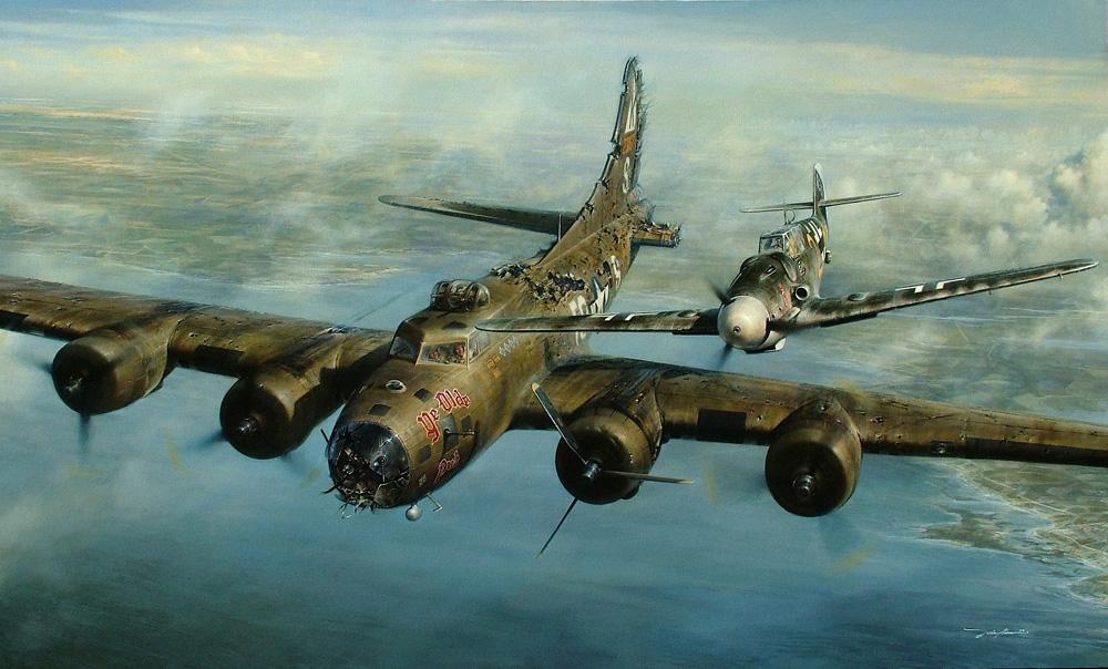 """Hermosa imagen de la recreación de aquel momento lleno de humanidad. Franz Stigler a bordo de su Messerschmitt Bf 109G se despide del """"Ye Olde Pub"""" tras corregir su rumbo y escoltarlo hacia Inglaterra"""