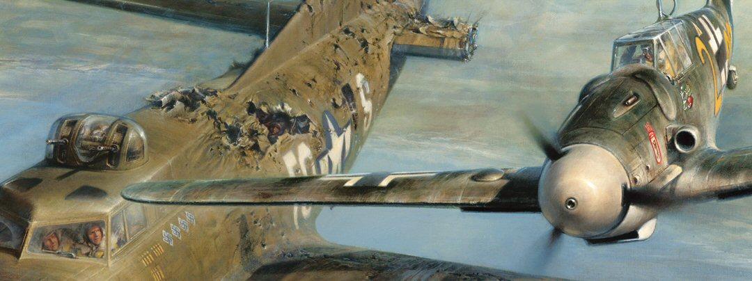 """Franz Stigler a bordo de su Messerschmitt Bf 109G se despide de la tripulación del gravemente averiado B-17F """"Ye Olde Pub"""" tras haberlo escoltado rumbo a Inglaterra"""