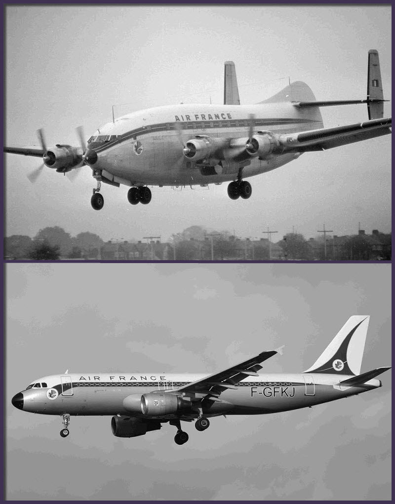 """Arriba: Breguet Br.763 Provence en maniobra de aterrizaje. Apodado """"Deux-Ponts"""" este feo pero robusto cuatrimotor fue muy utilizado en las rutas de Air France con el norte de África desde 1952 (Fuente: Flightglobal.com)"""