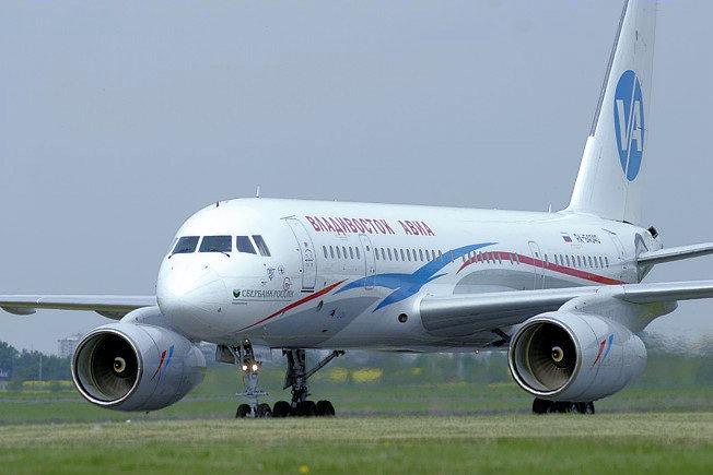 Un Tu-204-300 de la compañía Vladivostok Air. Esta versión tiene fuselaje acortado y un mayor alcance