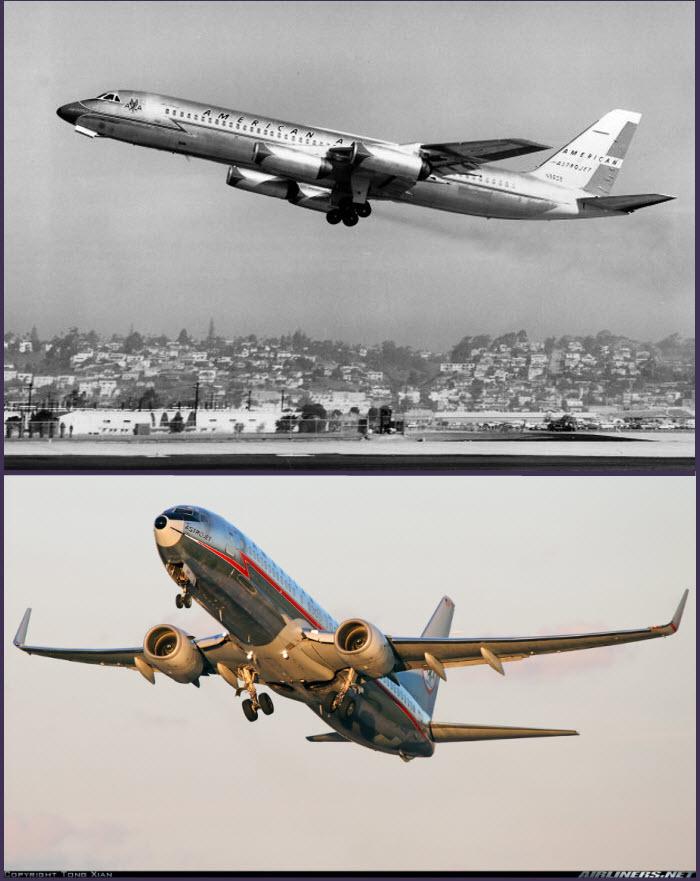 Arriba: espectacular con su acabado en metalizado natural y su línea naranja recorriendo el fuselaje, este fantástico Convair CV-990, despega con los colores de la compañía American Airlines (fuente: edcoatescollection.com)