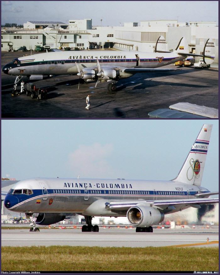 Arriba: hermoso Lockheed L-1049G Super Constellation de Avianca en el aeropuerto de Miami. Este, con matrícula HK-184 fue operado entre octubre de 1955 y agosto de 1969 Abajo: Tampoco está mal la línea de este elegante Boeing 757-200 con librea retro (fuente: William Jenkins/Airliners.net)