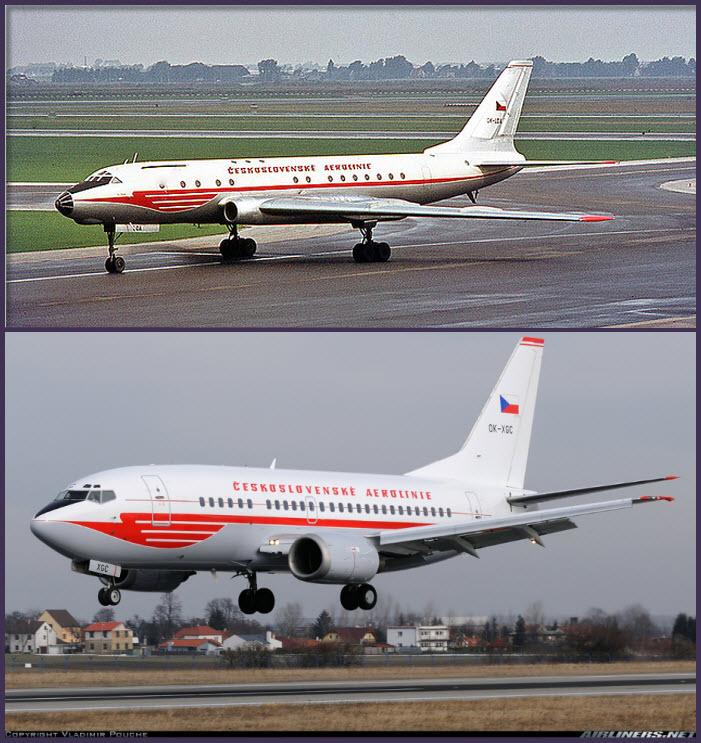 """Arriba: uno de los seis Túpolev Tu-104A que operó CSA, siendo la única compañía, aparte de Aeroflot que operó este revolucionario birreactor. Abajo: Un Boeing 737-500 de CSA a punto de aterrizar en el aeropuerto Ruzyne en Praga con su decoración retro. La versión 500 del 737 es la más corta de la generación """"classic"""" (Fuente: Vladimir Pouche/Airliners.net)"""