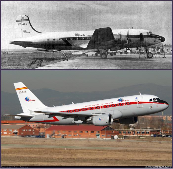 Arriba: uno de los Douglas DC-4 de Iberia estacionado en Barajas en los años 40. Con este modelo, la compañía Iberia abrió sus rutas con Iberoamérica Abajo: Espectacular pasada de un Airbus A319-111 de Iberia con su hermosa decoración retro (Fuente: Biel Gomila/Airliners.net)