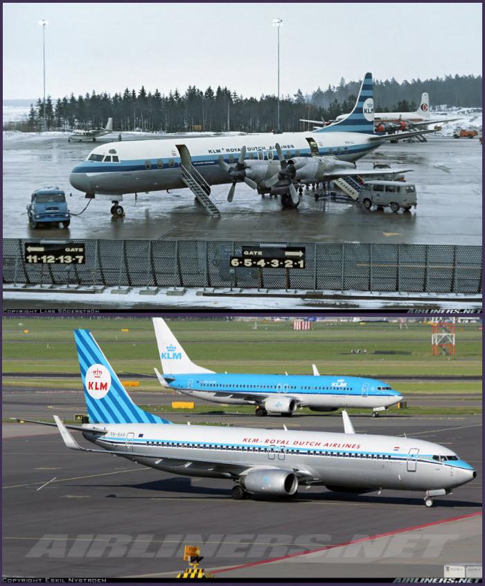 """Arriba: KLM fue la única compañía europea que operó el turbohélice Lockheed L.188 Electra, como este ejemplar, fotografiado en el aeropuerto sueco de Arlanda en 1967. A tener en cuenta las otras dos joyas de la aviación que aparecen detrás: Un transporte ligero Aero Commander 560 y un Douglas DC-7 """"Seven Seas"""" (Fuente: Lars Söderström / Airliners.net) Abajo: Pasado y presente. Dos Boeing 737-800 de KLM coinciden en Schiphol, uno con la actual librea y el otro, en primer plano, con la """"retro"""" (Fuente: Eskil Nystroem/Airliners.net)"""