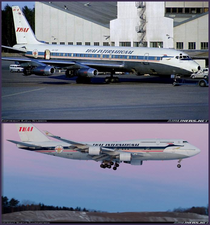 Arriba: un Douglas DC-8-32 de Thai International en el aeropuerto sueco de Arlanda en 1971 (Fuente: Kjell Nilsson / Airliners.net) Abajo: aunque Thai siempre ha ostentado unas de las libreas más elegantes de la historia de la aviación, este fantástico Boeing 747-400 luce este bonito esquema retro que la compañía llevó en sus orígenes (Fuente: Martin Djupenstrom / Airliners.net)