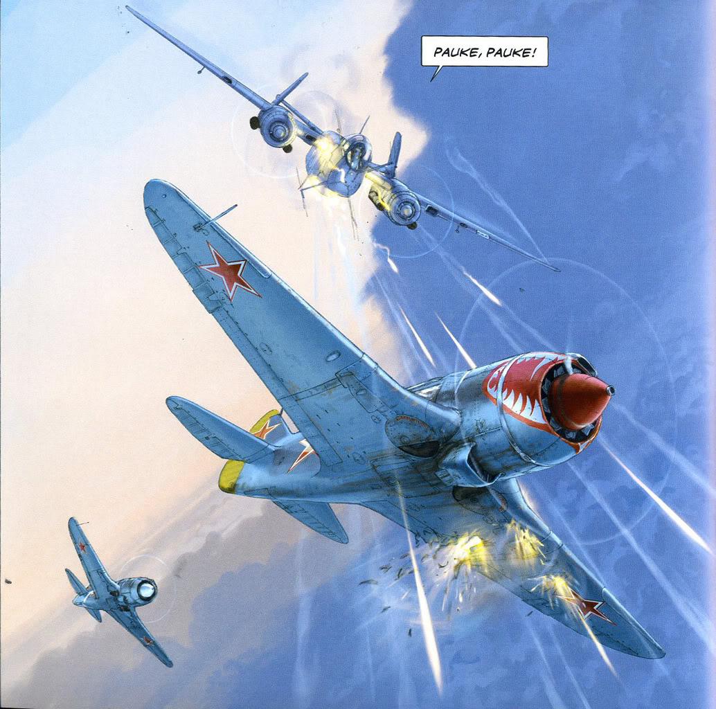 Pauke! Pauke!. Con este código de radio, el piloto alemán indica que ha localizado su objetivo y abalanza su He 219 contra un sorprendido Lavochkin La-5FN