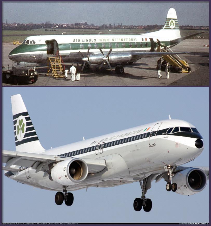 Arriba: un Vickers Viscount 800 de Aer Lingus en el aeropuerto de Birmingham a finales de los 60. El Viscount fue un exitoso turbohélice que operó hasta casi los años 80 en arolíneas de bandera primero y en chárter después (Fuente: Will Blunt, Global Air Image Photo Archive)