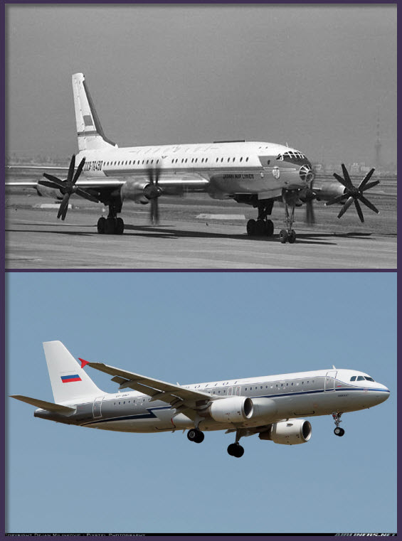 Arriba: de forma excepcional, por ser la Guerra Fría, Aeroflot operó conjuntamente con Japan Air Lines la ruta Moscú-Tokio con el enorme Túpolev Tu-114, tal como se observa en la foto. (fuente: www.aerospaceweb.org)