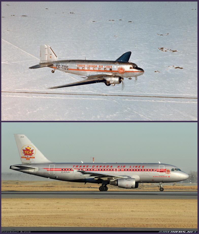 Arriba: un Douglas DC-3 operando con TCA a mediados de los cuarenta, sobre un típico paisaje nevado canadiense (Fuente: Air Canada) Abajo: un Airbus A319-114 de Air Canada celebrando su efeméride con la librea de TCA que tuvo muchas décadas atrás (Fuente: Airvik / Airliners.net)