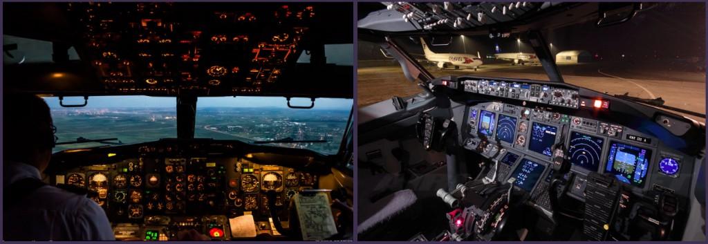 Cuarenta años de evolución tecnológica separan estos dos cockpits. La instrumentación analógica del veterano 737-2K3/Adv de Aviogenex (Kevin Gutt/Airliners.net) contrasta con las seis pantallas EFIS del Boeing 737-8FN de la checa Travel Service (Petr Volek/Airliners.net)