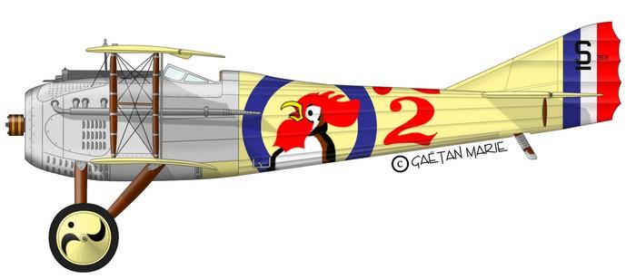 El SPAD VII pilotado por el Teniente Armand de Turenne, encuadrado en la SPA 48 (fuente: http://www.gaetanmarie.com)