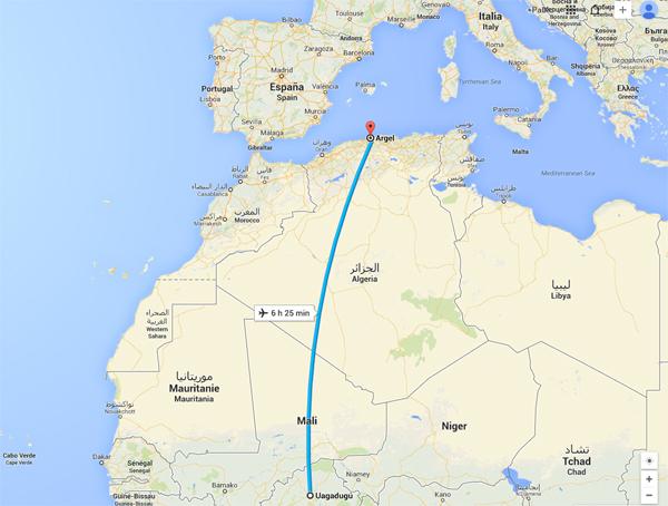 Ruta prevista por la aeronave en el vuelo AH5017