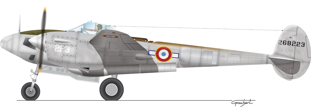 Lockheed P-38F-5B Lightning nº223. Armée de l´Air. Groupe de Chasse II/33 (42-68223, c/n 422-2734). (Fuente: © Patrice Gaubert / http://www.immadras.com)