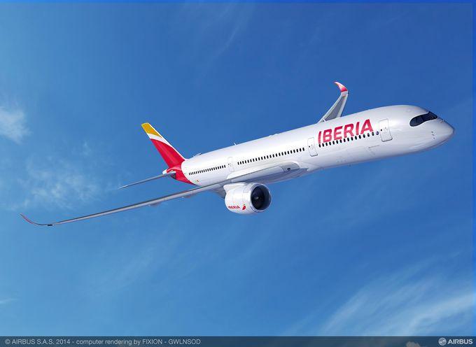 Impresión de los futuros A350-900 con los colores de Iberia (fuente: Airbus)