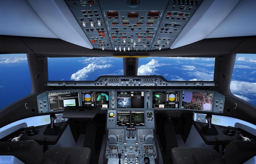 Impresionante y futurista cabina de vuelo del A350 (fuente: Airbus)