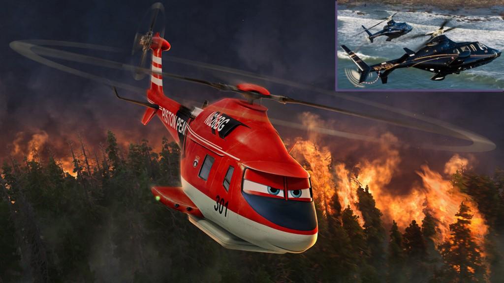El aerodinámico y estilizado Bell 430 y su recreación animada (Fuente: Disney/danmegna.com)