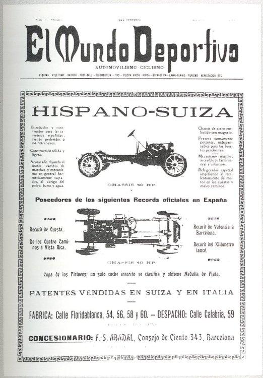 Anuncio de prensa en un diario barcelonés del Hispano Suiza Tipo 40 HP con motor de 4 cilindros y presentado en 1906 (fuente: www.vehiculoclasico.es)