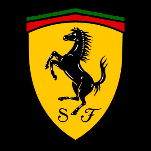 """Emblema actual de Ferrari. El negro recuerda a los aviadores italianos caídos en combate durante la Gran Guerra y el fondo amarillo es el color de la ciudad de Módena. La S y la F denominan """"Scuderia Ferrari"""""""