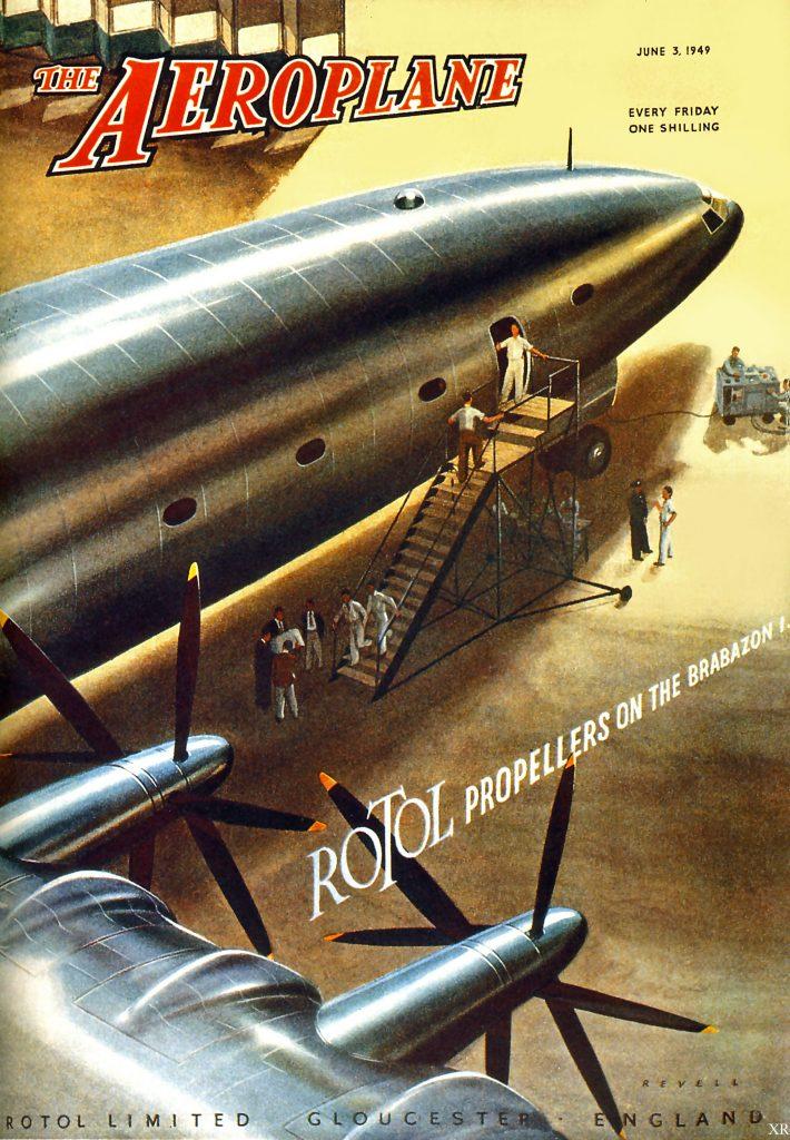 Publicación especializada de la época con el Bristol Brabazon en portada y sus hélices contrarrotantes fabricadas por Rotol Limited.