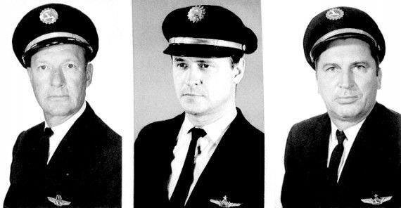 La tripulación técnica del fatídico vuelo 401. De izquierda a derecha, el Comandante Robert Loft, el Primer Oficial Bert Stockstill y el Ingeniero de Vuelo Donald Repo.