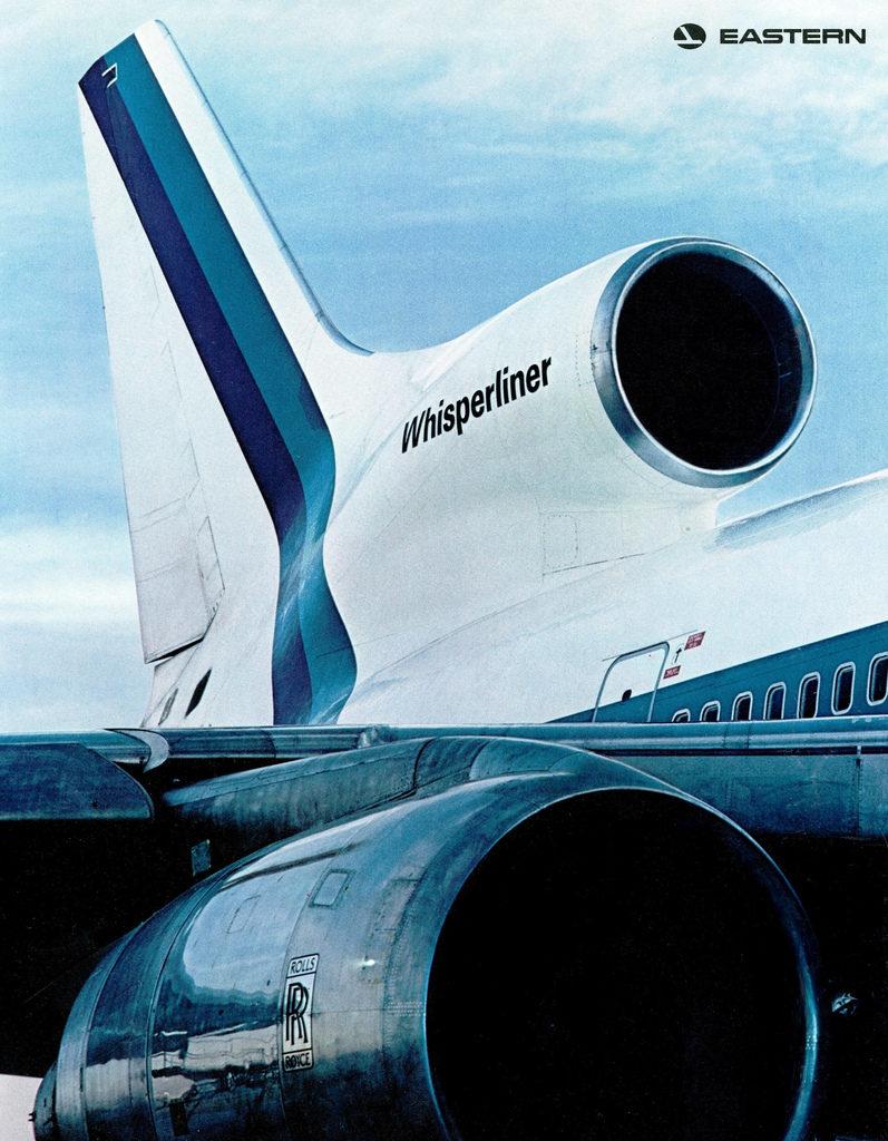 """Espectacular fotografía publicitaria de Eastern para su insignia de la flota, los novedosos TriStars, mostrando orgullosos el origen de sus propulsores. Bautizados como """"Whisperliners"""" por su silencioso rendimiento, el colapso de Rolls-Royce supuso uno de los principales factores del fracaso comercial de este interesante modelo (Eastern)"""
