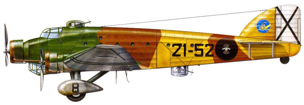 Savoia-Marchetti SM.81. 21-52, 113 Grupo, 16ª Escuadra de Bombardeo. Ejército del Aire. Villanubla (Valladolid), Otoño de 1939. (© Luis Fresno Crespo / Historia Militar No.9. Marzo 2001. ISSN: 1575-9059)