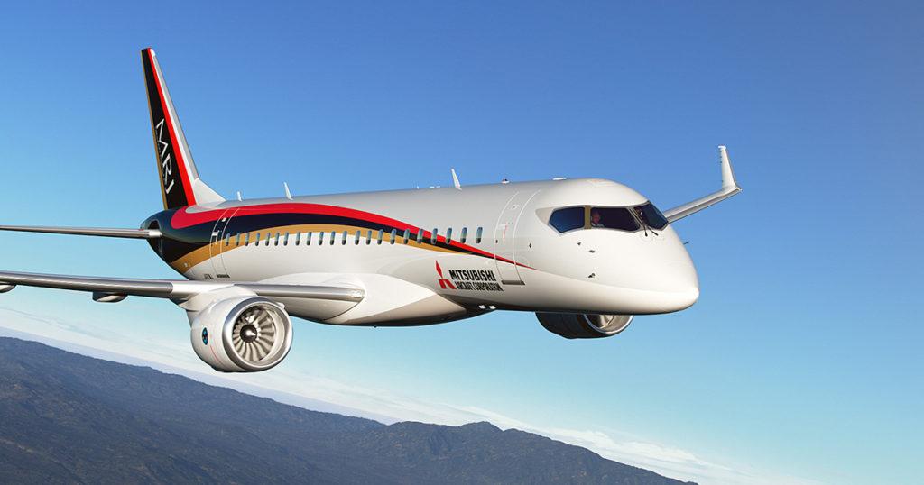 Fotografía comercial del prototipo del MRJ90 (http://www.flythemrj.com).