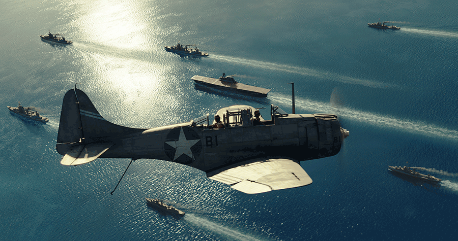 El uso del CGI permite escenas espectaculares escenas aeronavales, como la de este Dauntless sobre volando una Task Force norteamericana, para deleite del aficionado (www.cineluxe.com).
